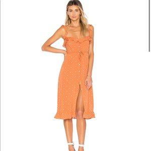 For love & lemon Natalia Dot Midi Dress Copper Dot